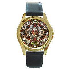 Crazy Abstract  Round Leather Watch (gold Rim)  by OCDesignss
