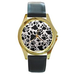 Paws On Me  Round Leather Watch (gold Rim)  by OCDesignss
