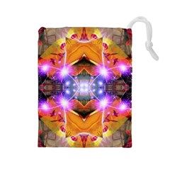 Abstract Flower Drawstring Pouch (large) by icarusismartdesigns