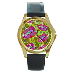 Sassy Lips Bubbles  Round Leather Watch (gold Rim)  by OCDesignss
