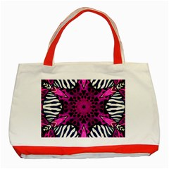 Crazy Hot Pink Zebra  Classic Tote Bag (red) by OCDesignss