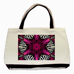 Crazy Hot Pink Zebra  Twin-sided Black Tote Bag by OCDesignss