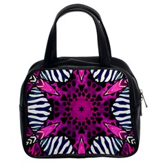 Crazy Hot Pink Zebra  Classic Handbag (two Sides) by OCDesignss