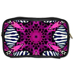 Crazy Hot Pink Zebra  Travel Toiletry Bag (one Side)