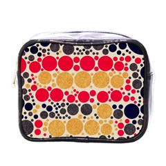 Retro Polka Dots  Mini Travel Toiletry Bag (one Side) by OCDesignss