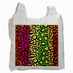 Rainbow Cheetah Abstract White Reusable Bag (one Side) by OCDesignss