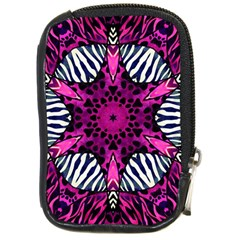 Crazy Hot Pink Zebra  Compact Camera Leather Case by OCDesignss