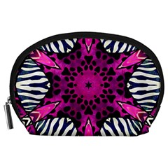 Crazy Hot Pink Zebra  Accessory Pouch (large) by OCDesignss