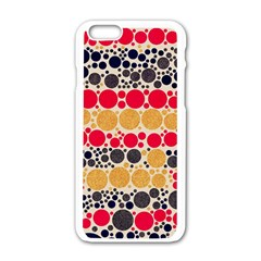 Retro Polka Dots  Apple Iphone 6 White Enamel Case