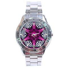 Crazy Hot Pink Zebra  Stainless Steel Watch by OCDesignss