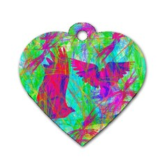 Birds In Flight Dog Tag Heart (one Sided)  by icarusismartdesigns