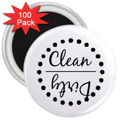 Fridge Magnet Black 3  Button Magnet (100 Pack)