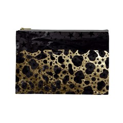 Cheetah Stars Gold  Cosmetic Bag (large) by OCDesignss