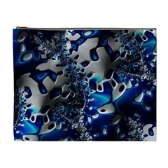 Glossy Blue Fractal  Cosmetic Bag (xl) by OCDesignss
