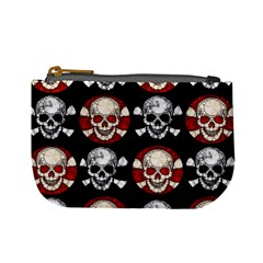 Red Black Skull Polkadots  Coin Change Purse by OCDesignss