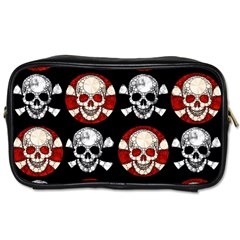 Red Black Skull Polkadots  Travel Toiletry Bag (one Side) by OCDesignss