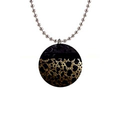Cheetah Stars Gold  Button Necklace