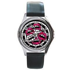 Bling Lips  Round Leather Watch (silver Rim) by OCDesignss