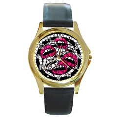 Bling Lips  Round Leather Watch (gold Rim)  by OCDesignss