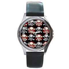 Red Black Skull Polkadots  Round Leather Watch (silver Rim)