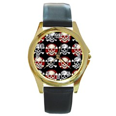 Red Black Skull Polkadots  Round Leather Watch (gold Rim)  by OCDesignss