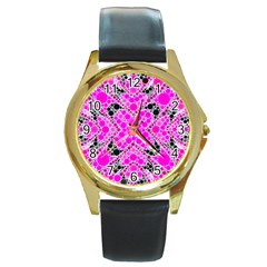 Bling Pink Black Kieledescope  Round Leather Watch (gold Rim)  by OCDesignss