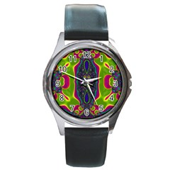 Hippie Fractal  Round Leather Watch (silver Rim) by OCDesignss