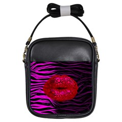 Sassy Lips Cheetah Girl s Sling Bag by OCDesignss