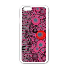 Pink Zebra Abstract Apple Iphone 6 White Enamel Case by OCDesignss