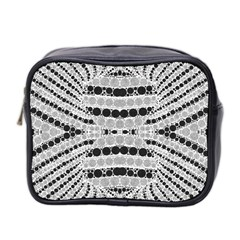 Insane Black&white Textured  Mini Travel Toiletry Bag (two Sides) by OCDesignss