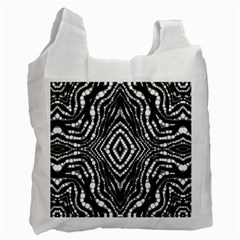 Zebra Twists  White Reusable Bag (one Side) by OCDesignss