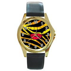 Mouthy Zebra  Round Leather Watch (gold Rim)  by OCDesignss
