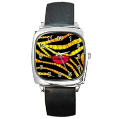 Mouthy Zebra  Square Leather Watch by OCDesignss