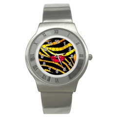 Mouthy Zebra  Stainless Steel Watch (slim) by OCDesignss