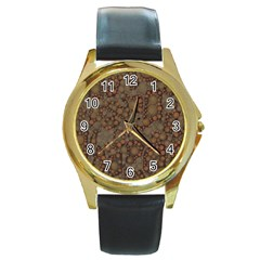 Perculated Snake  Round Leather Watch (gold Rim)  by OCDesignss