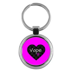 Hot Pink Vape Heart Key Chain (round) by OCDesignss