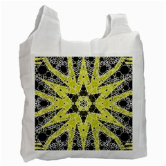 Bright Yellow Black  White Reusable Bag (one Side) by OCDesignss