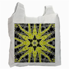Bright Yellow Black  White Reusable Bag (two Sides) by OCDesignss