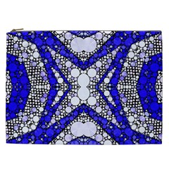 Flashy Bling Blue Silver  Cosmetic Bag (xxl) by OCDesignss