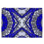 Flashy bling Blue Silver  Cosmetic Bag (XXL) Front