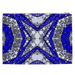 Flashy bling Blue Silver  Cosmetic Bag (XXL) Back