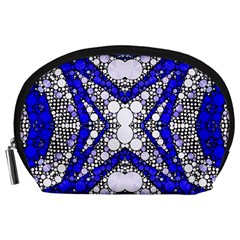 Flashy Bling Blue Silver  Accessory Pouch (large) by OCDesignss