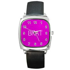 Brat Pink Square Leather Watch by OCDesignss
