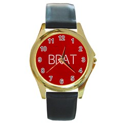 Brat Red Round Leather Watch (gold Rim)  by OCDesignss