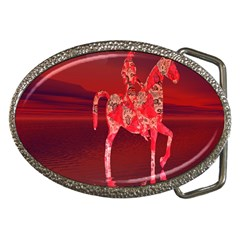 Riding At Dusk Belt Buckle (oval) by icarusismartdesigns