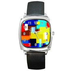 Pattern Square Leather Watch