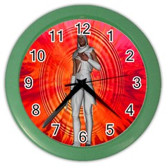White Knight Wall Clock (color) by icarusismartdesigns