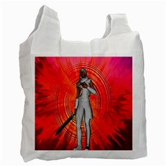 White Knight White Reusable Bag (one Side) by icarusismartdesigns