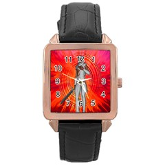 White Knight Rose Gold Leather Watch