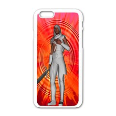 White Knight Apple Iphone 6 White Enamel Case by icarusismartdesigns